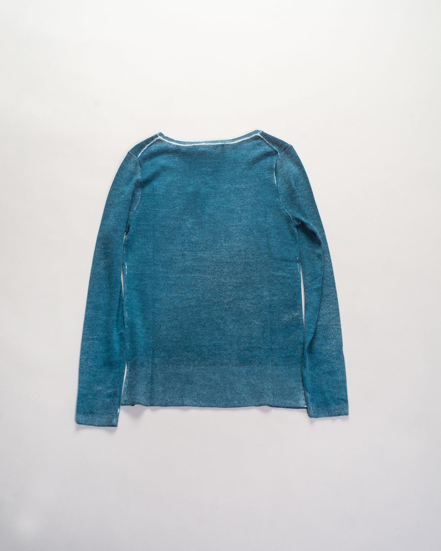 F239 paychi guh women's women worsted mongolian cashmere printed bateau pullover sweater in blue navy inkwell juniper green peacock teal | noodle stories