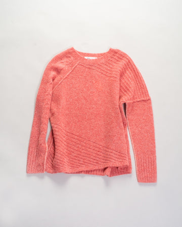 paychi guh mongolian cashmere dreamy cable crew sweater in coral | noodle stories