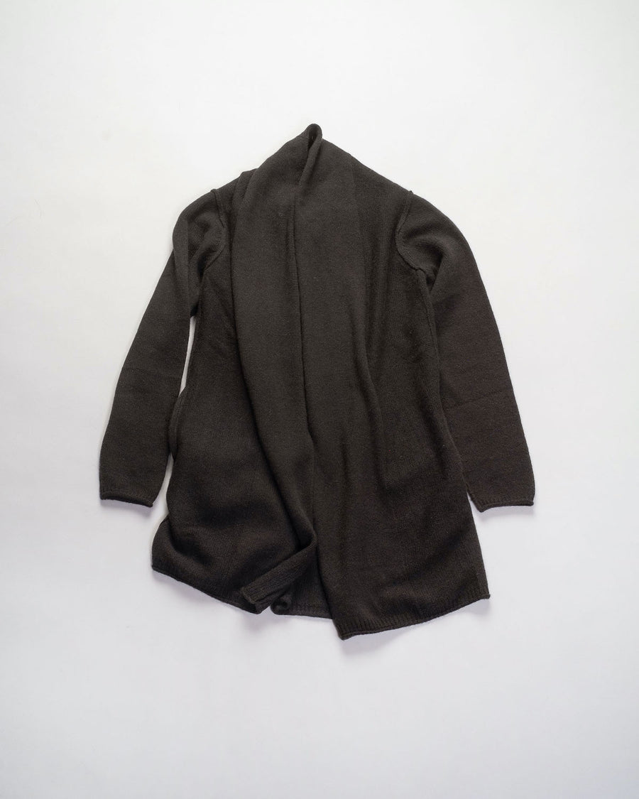 F277 paychi guh women's women mongolian cashmere jersey open front cardigan draped in seaweed dark green noodle stories