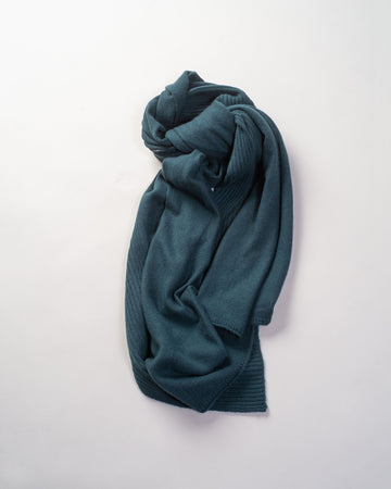 F280 paychi guh women's women mongolian cashmere textured scarf rib half cardigan shawl dark teal green blue | noodle stories