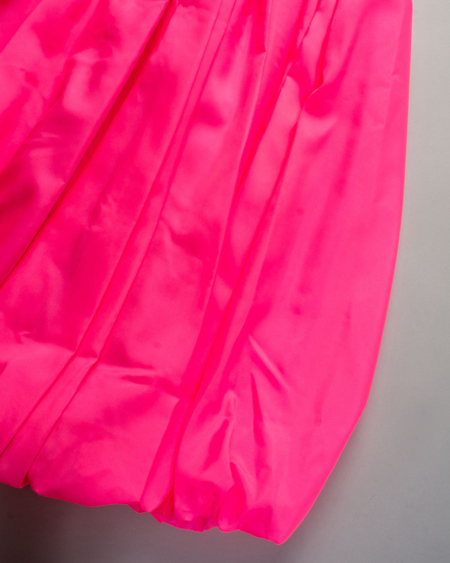 GF-S012 comme des garcons cdg women's polyester poly tropical elastic waist drawstring tucked hem skirt in pink noodle stories