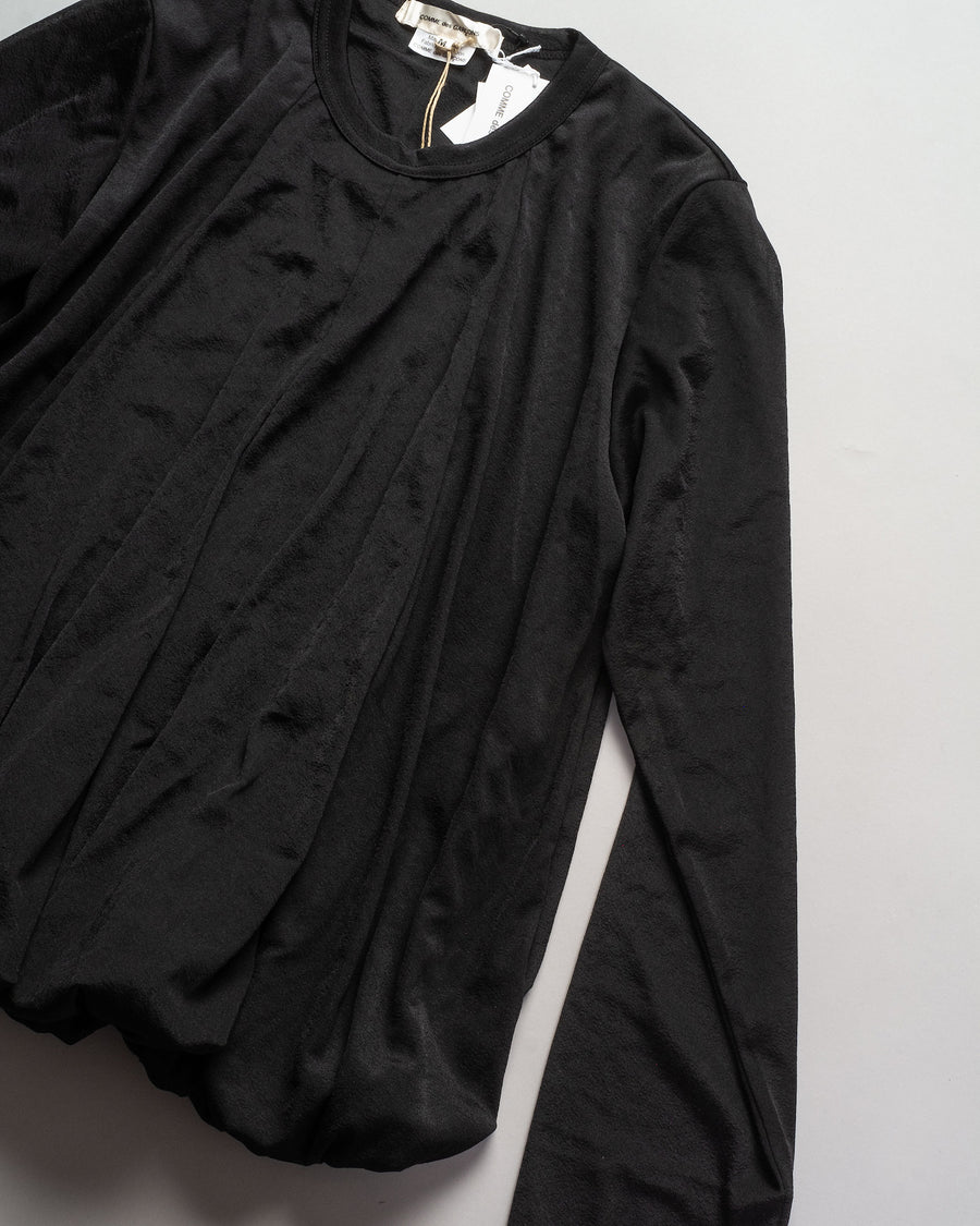 GF-T021 comme des garcons tucked hem top in black polyester tricot knit women's t-shirt tee crew long sleeve noodle stories