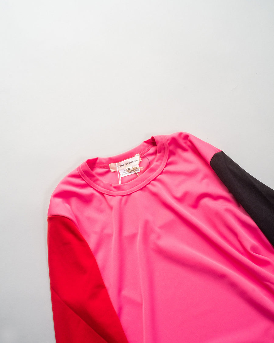 GF-T026 women's polyester poly jersey t-shirt cdg comme des garcons color-block tee in pink black red noodle stories
