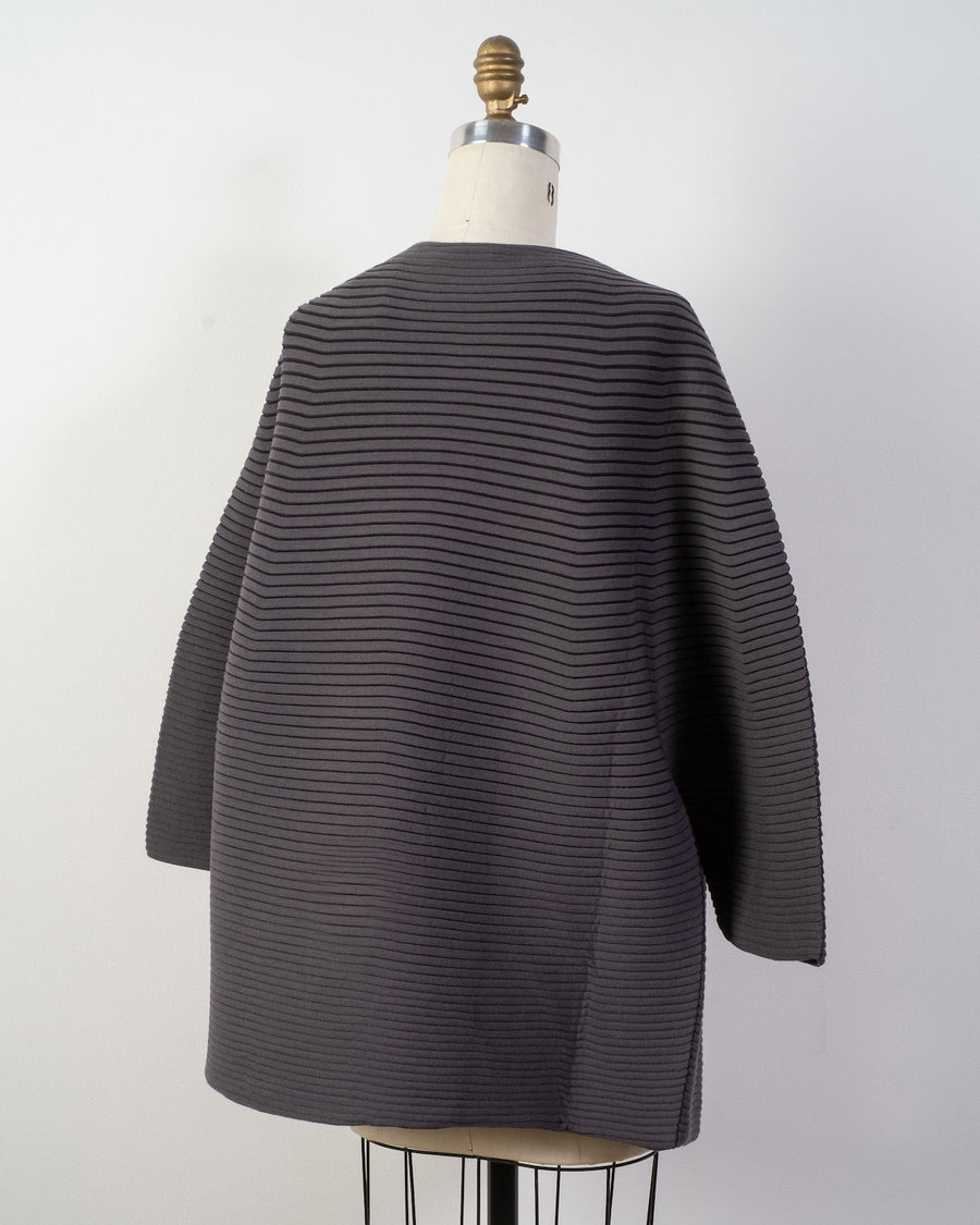 IM08 K0258 issey miyake womens women's pleats pleated circular knit cocoon jacket belted wool poly grey gray noodles stories