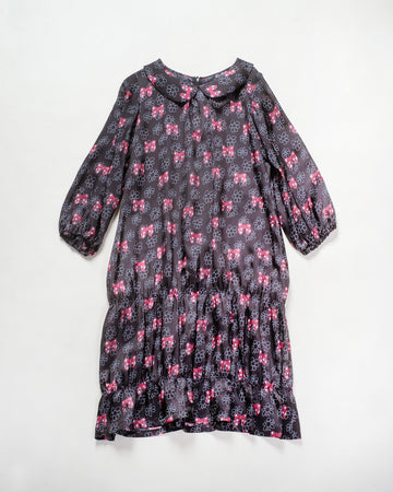 printed gathered hem dress