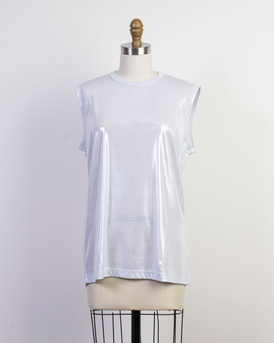 metallic finish muscle tee