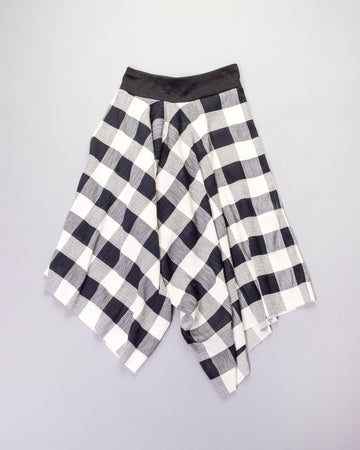 draped gingham pants