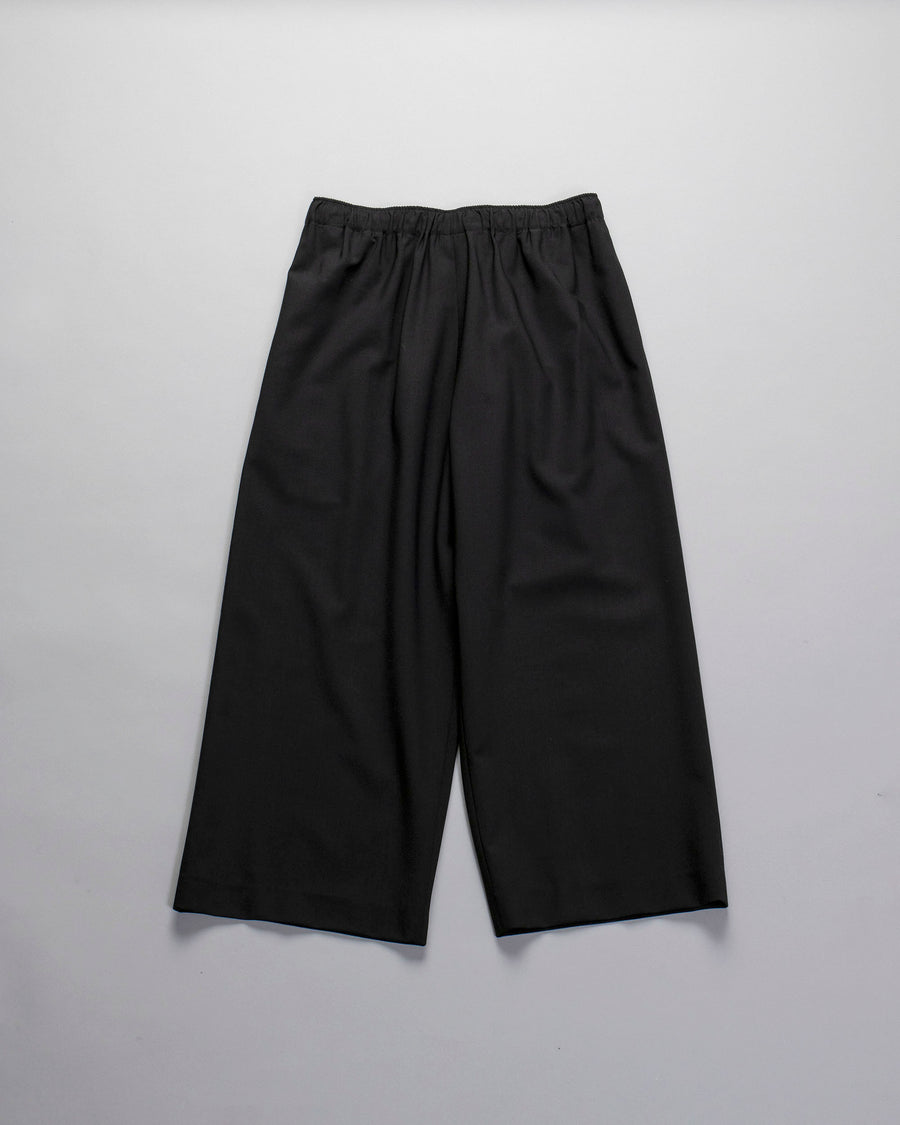 6397, PANTS, NP124, WIDE, LEG, PULL, ON, TROUSER, PULL-ON, ANKLE, CROP, WOOL, ELASTANE, DRAWSTRING, BLACK,
