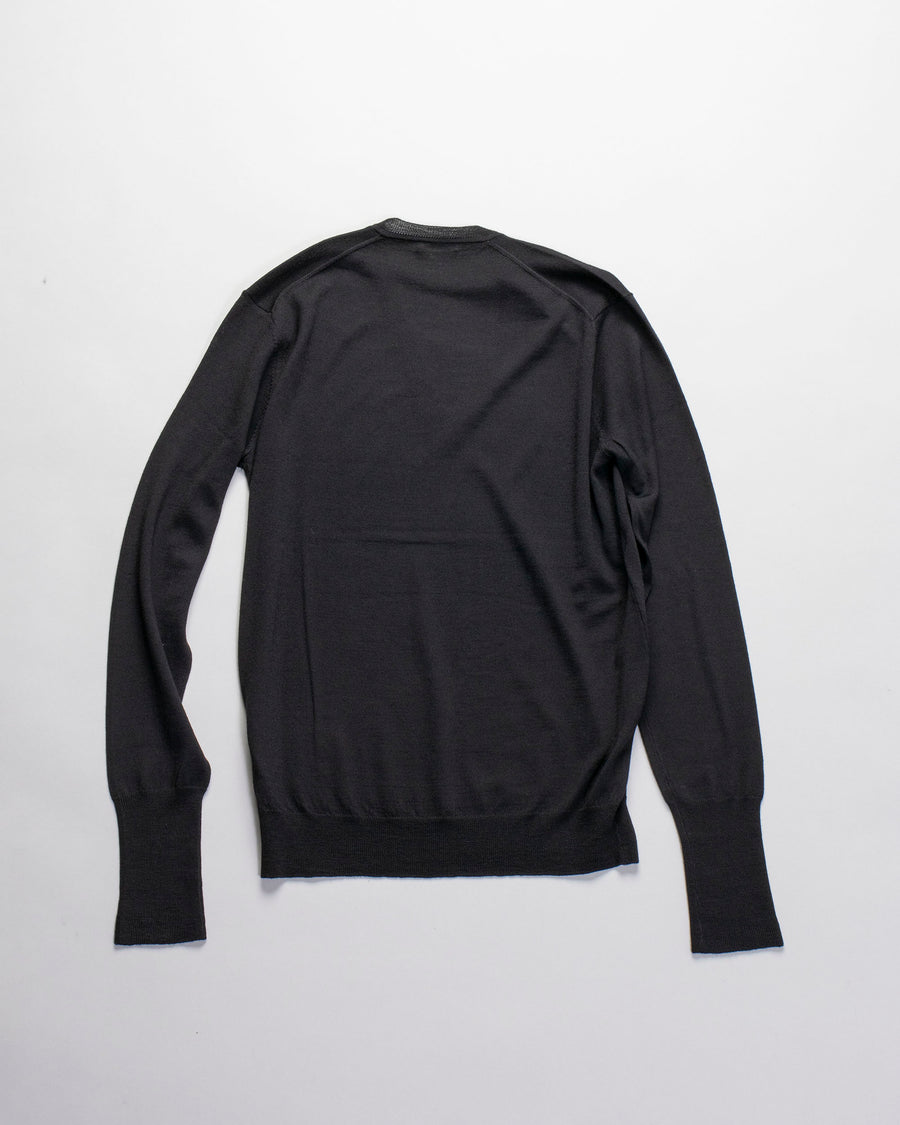 6397, SWEATER, NSW007, PERFECT, V, VEE, NECK, LONG, SLEEVE, MERINO, BLACK,