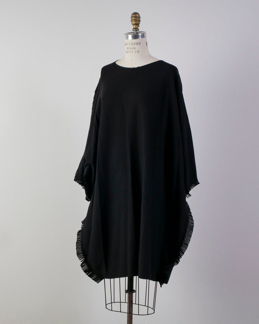 ISSEY, MIYAKE, IM08, KH315, IM08KH315, WOMENS, WOMEN'S, NOODLE, STORIES, SWEATER, KNIT, DRESS, COTTON, NYLON, BLACK, FRINGE, FRINGED, TUNIC,