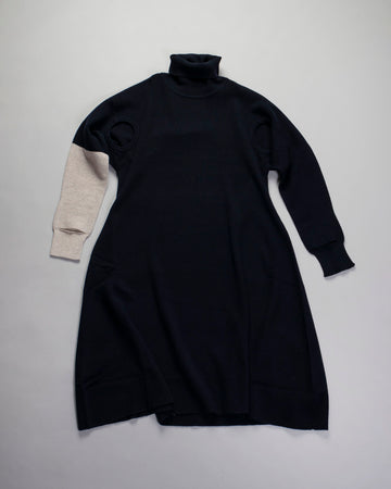 ISSEY, MIYAKE, IM08,KH282, IM08KH282, WOMENS, WOMEN'S, NOODLE, STORIES, DRESS, HAND, IN, HAND, CUT, OUT, CUTOUT, CONTRAST, TURTLENECK, TURTLE, NAVY,