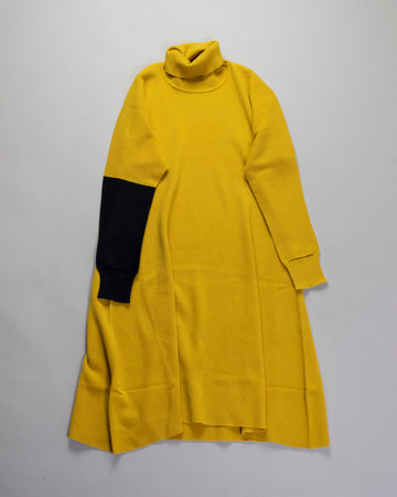 ISSEY, MIYAKE, IM08,KH282, IM08KH282, WOMENS, WOMEN'S, NOODLE, STORIES, DRESS, HAND, IN, HAND, CUT, OUT, CUTOUT, CONTRAST, TURTLENECK, TURTLE, YELLOW,