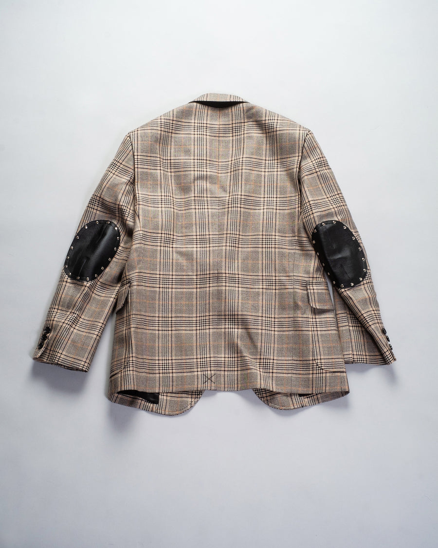 JF-J038 comme des garçons junya watanabe elbow patch tweed blazer in black brown plaid polyester wool nylon leather stud studded jacket noodle stories