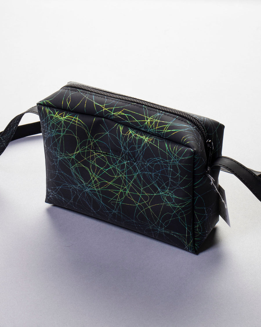 metallic thread box bag with long strap