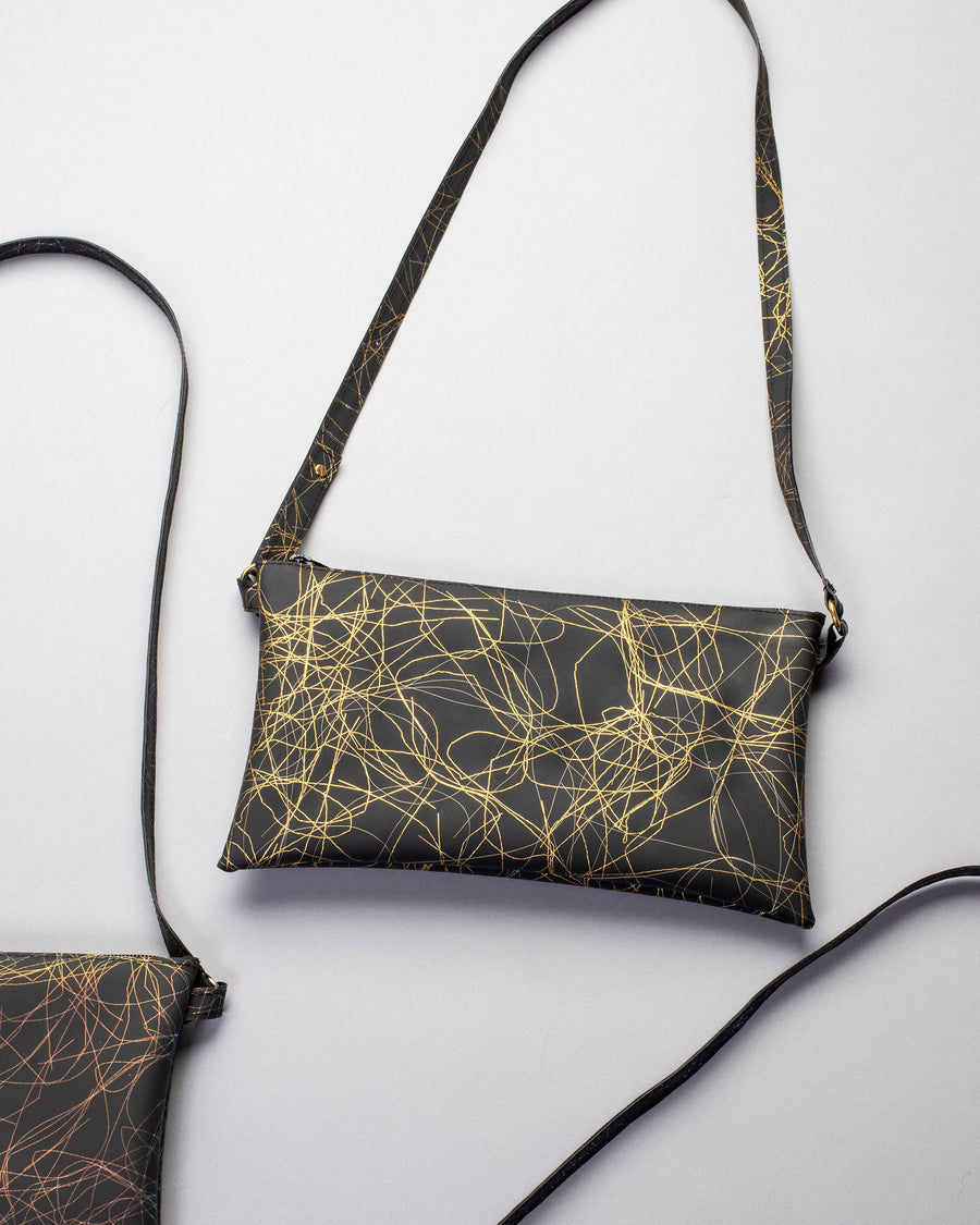 metallic thread long pocket with adjustable strap