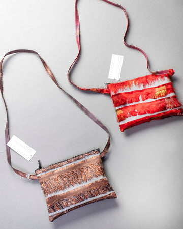 silk fringe pocket with crossbody strap