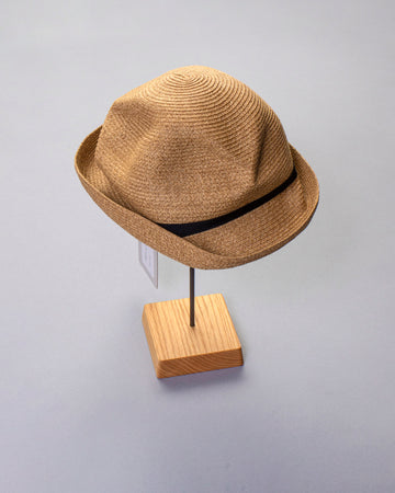 boxed hat with grosgrain ribbon