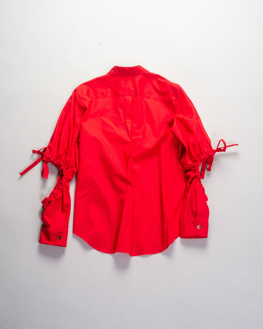 NF-B007 comme des garçons cdg girl women's cotton broadcloth cut-out sleeve shirt top in red gathered drawstring shirred noodle stories
