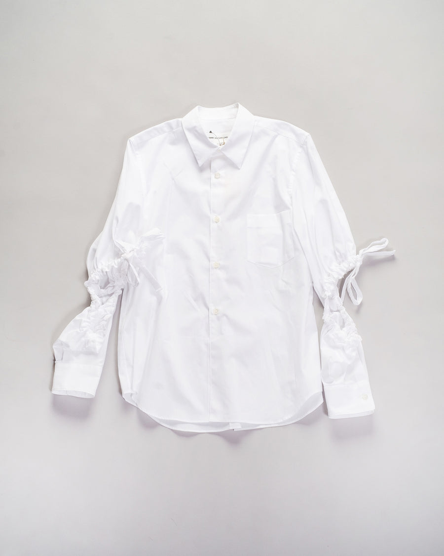 NF-B007 comme des garçons cdg girl women's cotton broadcloth cut-out sleeve shirt top in white gathered drawstring shirred noodle stories
