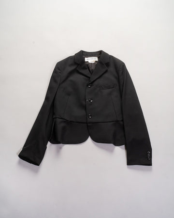 NF-J001 comme des garçons girl women's wool gabardine seamed jacket in black noodle stories cdg peplum