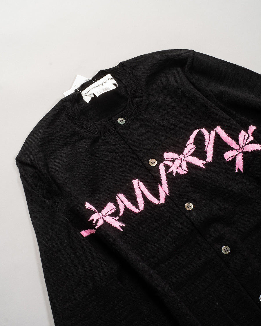 NF-N001 comme des garçons cdg girl ribbon intarsia cardigan in black sweater pink wool noodle stories