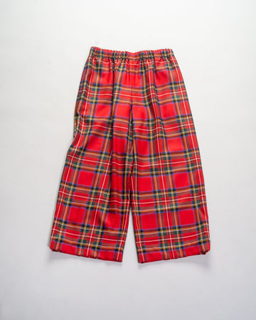 NF-P008 comme des garçons girl women's wool tartan plaid crop cropped trousers pants in red elastic ankle noodle stories cdg