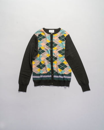 argyle knit cardigan