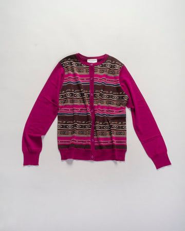 tyrolean stripe knit cardigan