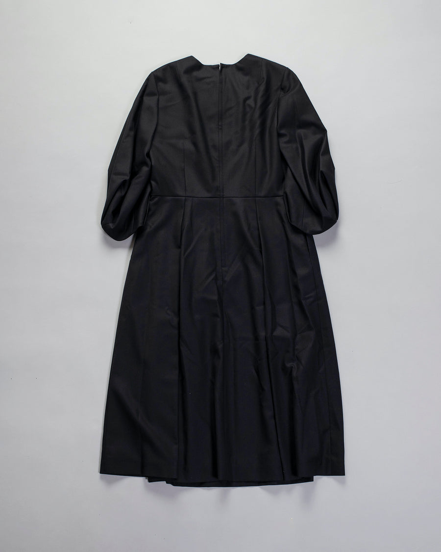 NOIR, KEI, NINOMIYA, COMME, DES, GARCONS, DRESS, 3F-0018-051, NOODLE, STORIES, WOMEN, WOMEN'S, WOOL, CASHMERE, GABARDINE, PLEATED, FULL, SLEEVE, PUFF, MIDI, MID-CALF, LINED, VINTAGE, BLACK,