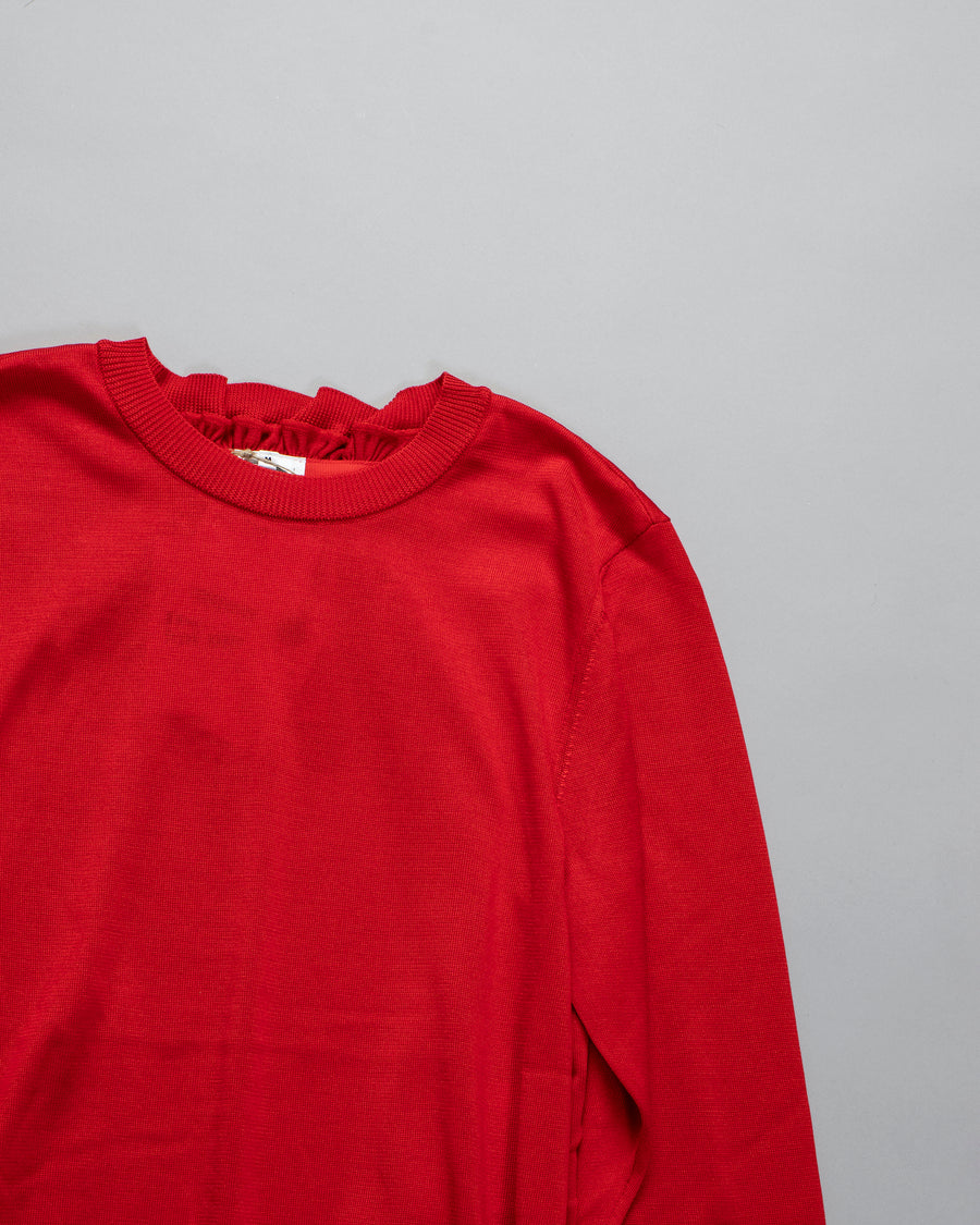 NOIR, KEI, NINOMIYA, COMME, DES, GARCONS, DRESS, 3F-N007-051, NOODLE, STORIES, WOMEN, WOMEN'S, SILK, CREW, NECK, RUFFLE, NECK, RIB, TRIM, GATHERED, RED,