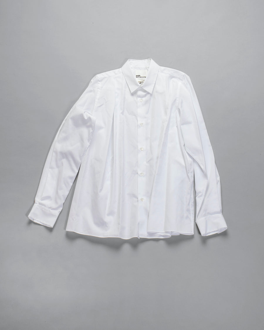 NOIR, KEI, NINOMIYA, COMME, DES, GARCONS, DRESS, 3F-B005-051, NOODLE, STORIES, WOMEN, WOMEN'S, SHIRT, COLLAR, BUTTON, FRONT, DOWN, COLLARED, POPLIN, COTTON, BROADCLOTH, PLEAT, BOX, PLEATED, WHITE,