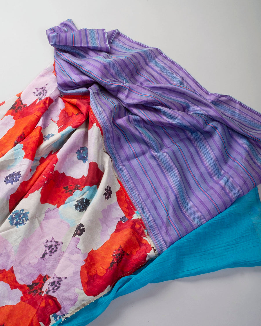 oversized floral pieced scarf