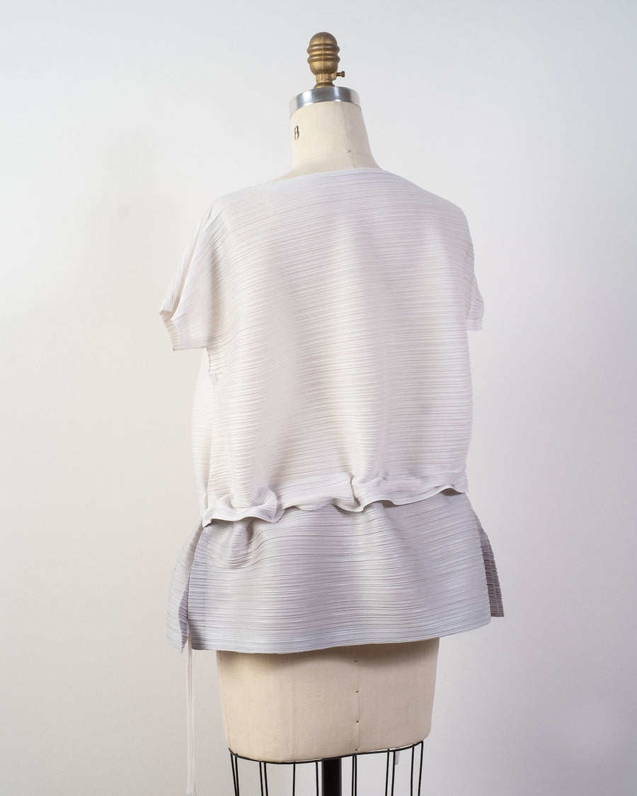 PP08 JK511 issey miyake womens women's pleats please japan poly polyester stone gradation top gray white light grey noodles stories
