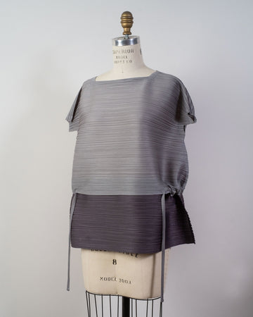 PP08 JK511 issey miyake womens women's pleats please japan poly polyester stone gradation top gray white dark grey noodles stories