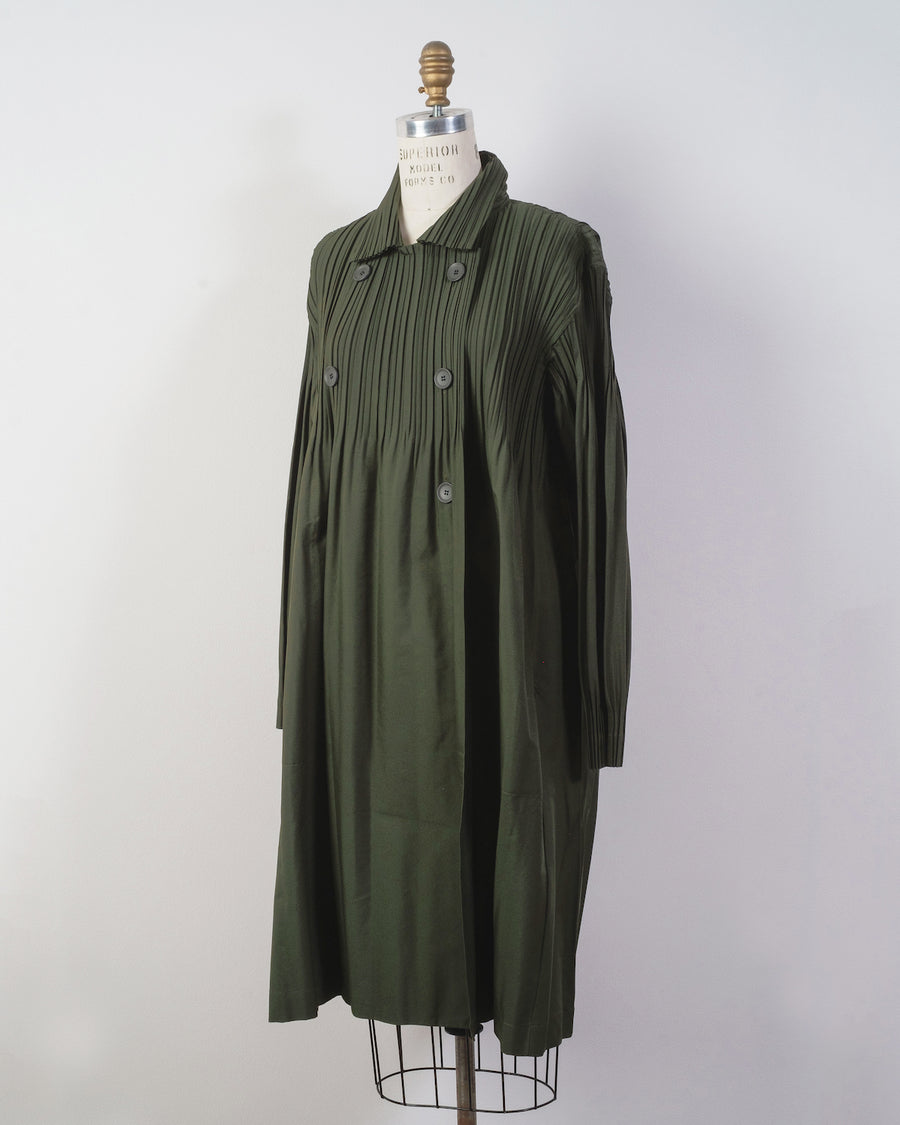 PP08 ZA532 issey miyake womens women's pleats please japan poly polyester jaunty trench coat jacket moss green double breasted button japan noodles stories