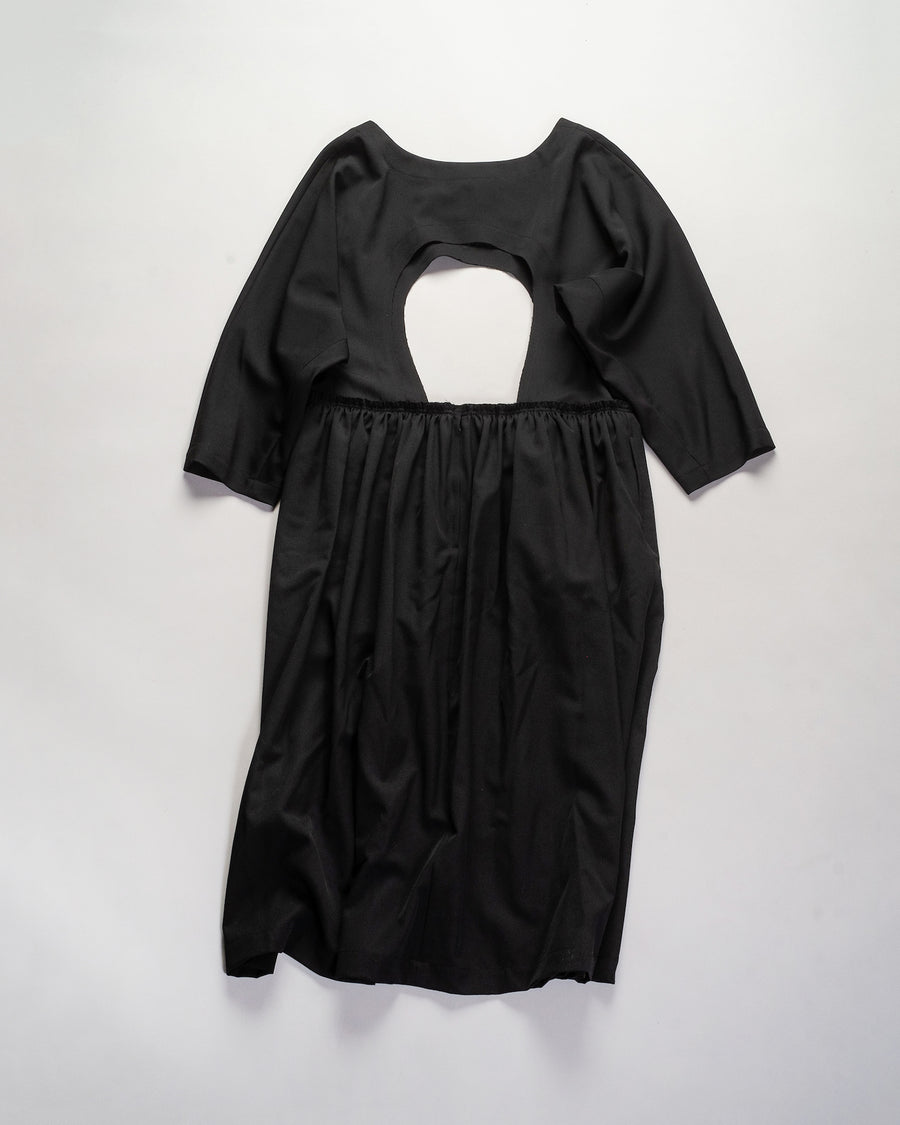 RF-A003 comme des garcons - cdg cdg women's wool gathered cut-out dress in black noodle stories