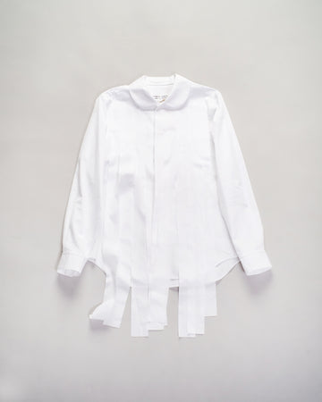 RF-B003 comme des garcons - cdg cdg - streamer shirt in white cotton broadcloth blouse collar women's noodle stories