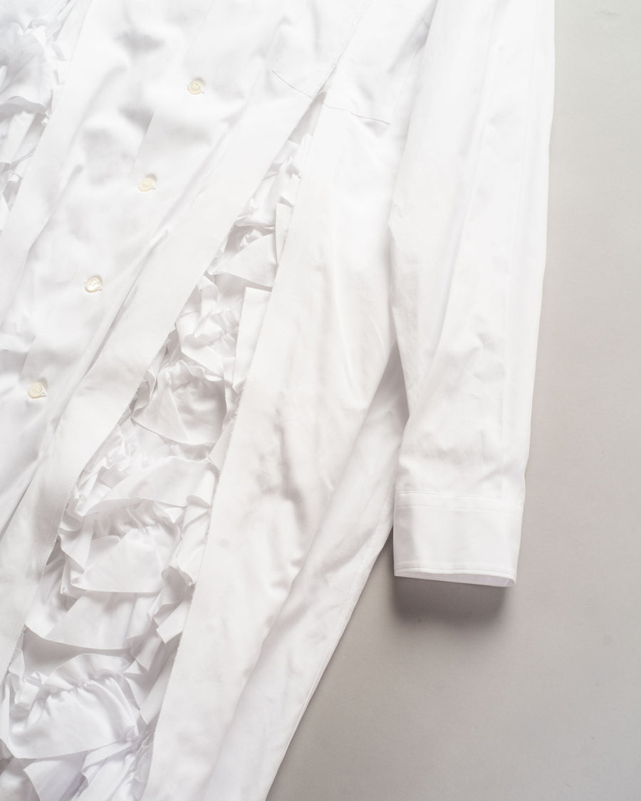 RF-B008 cdg cdg comme des garcons women's cotton broadcloth ruffled trim godet shirtdress in white noodle stories