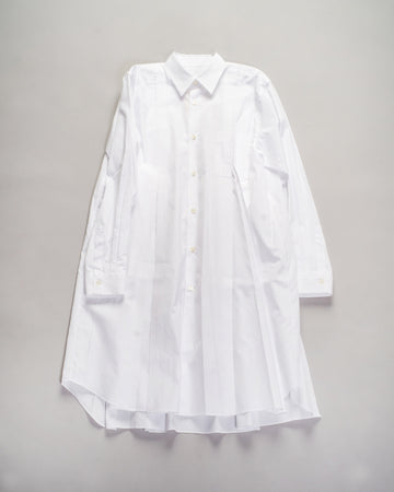 RF-B009 cdg cdg comme des garcons women's cotton broadcloth release pleat shirtdress in white noodle stories