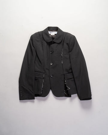RF-J003 women's comme des garcons cdg cdg wool deconstructed velveteen inset jacket in black noodle stories