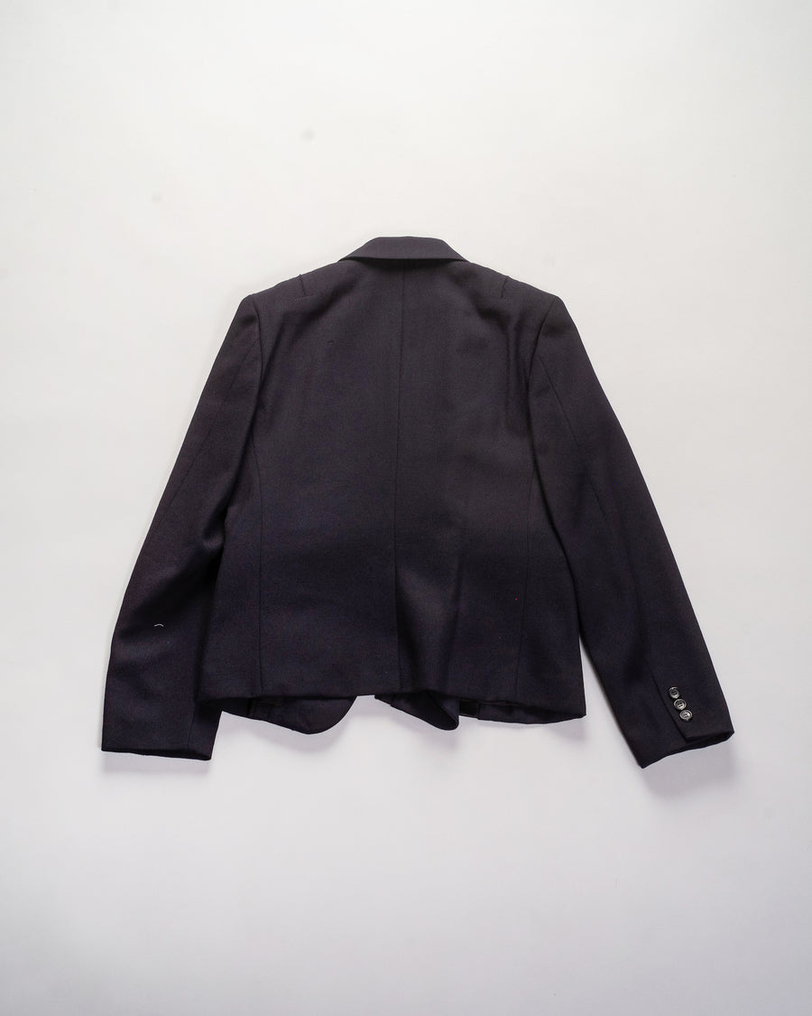 RF-J011 women's comme des garcons cdg cdg wool deconstructed satin inset blazer jacket in navy noodle stories
