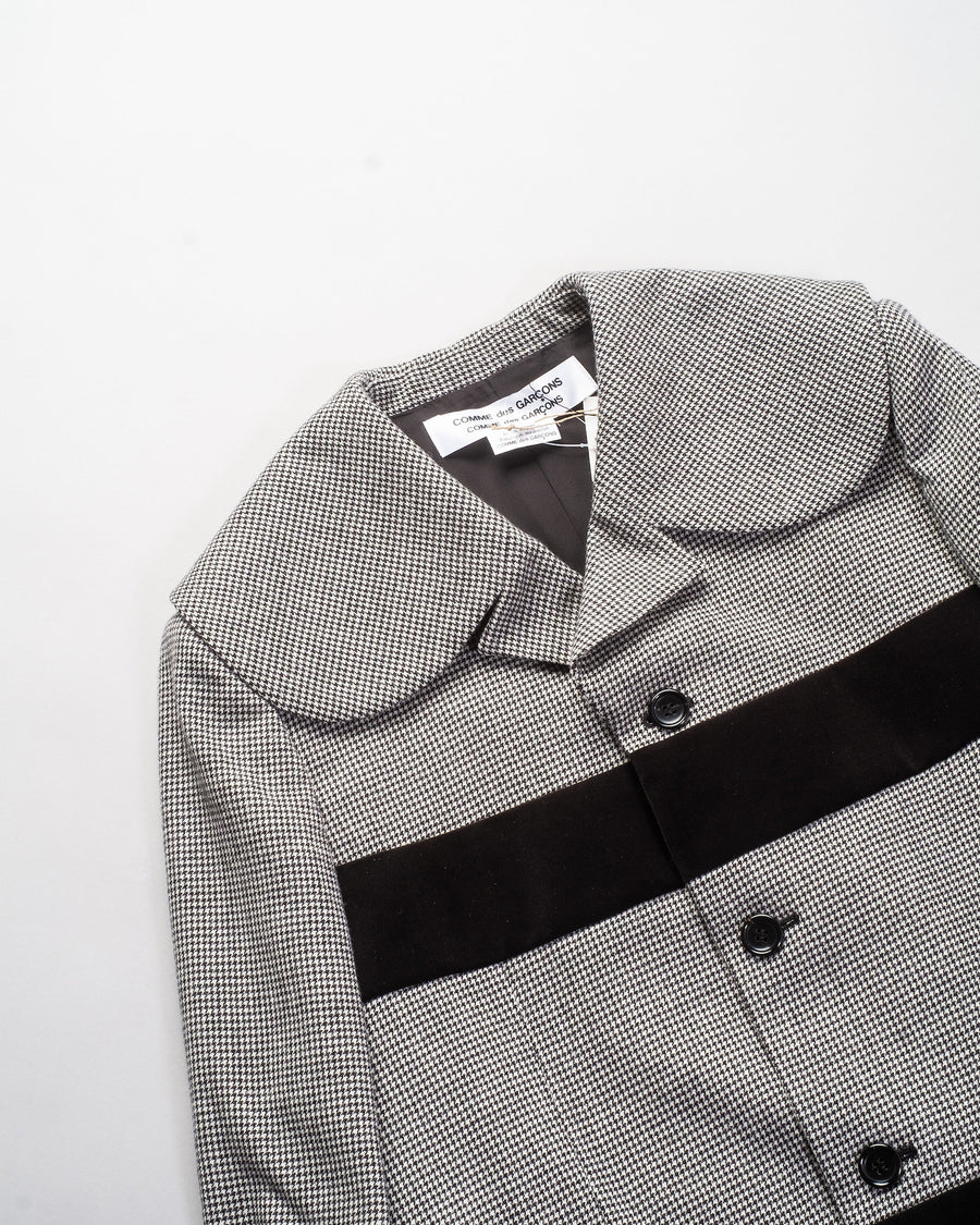 RF-J017 comme des garcons - cdg cdg velveteen inset houndstooth coat in natural black check noodle stories