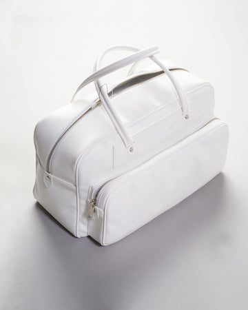 RF-K201 comme des garcons comme des garcons cdg women's synthetic leather bowling bag satchel in white noodle stories
