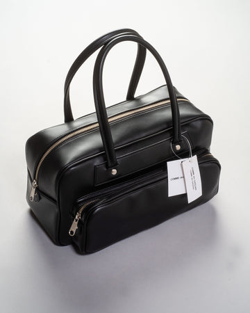 RF-K202 comme des garcons comme des garcons cdg women's synthetic leather small bowling bag satchel in black noodle stories