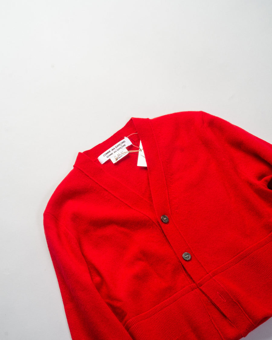 RF-N503 comme des garcons - cdg cdg - cropped cardigan in red wool open women's noodle stories