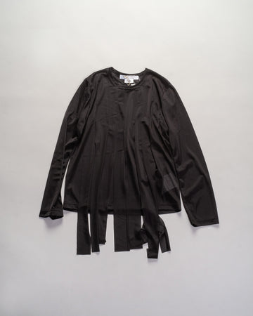 RF-T019 comme des garcons - cdg cdg -streamer tee in black tricot knit  women's noodle stories