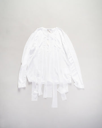 RF-T019 comme des garcons - cdg cdg -streamer tee in white tricot knit  women's noodle stories