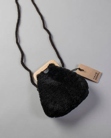 ROSA, MOSA, BAG, PURSE, ANGOLA_S, SHEARLING, SHEEPSKIN, SMALL, CURLY, WOOD, SHEARLING, FRAME, CLASP, BLACK,