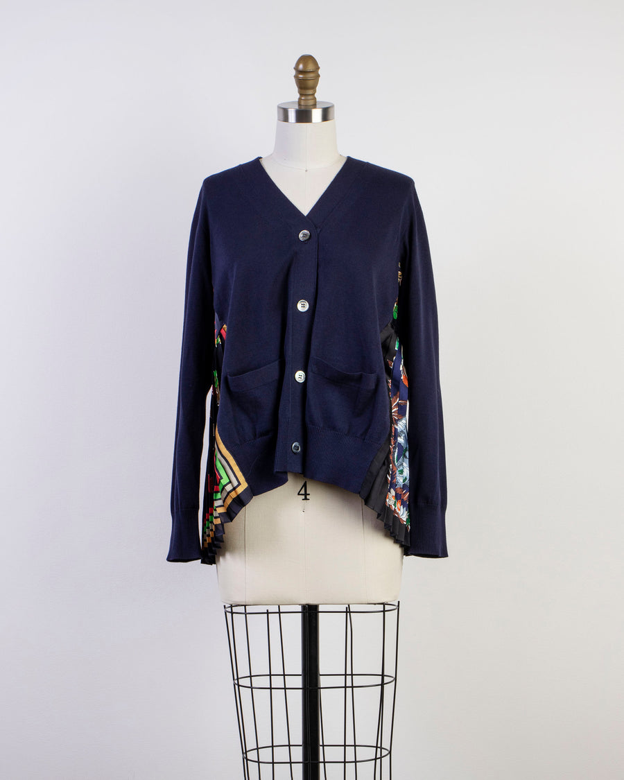 archive print mix cardigan