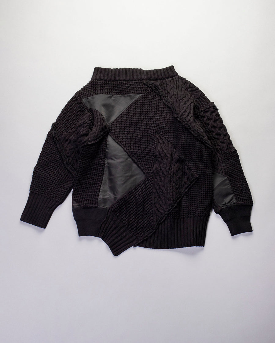 patchwork mix knit pullover